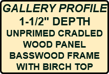 "GALLERY PROFILE 1-1/2"" DEPTH UNPRIMED CRADLED WOOD PANEL BASSWOOD FRAME WITH BIRCH TOP"
