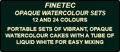 FINETEC OPAQUE WATERCOLOUR SETS 12 AND 24 COLOURS PORTABLE SETS OF VIBRANT, OPAQUE WATERCOLOUR CAKES WITH A TUBE OF LIQUID WHITE FOR EASY MIXING