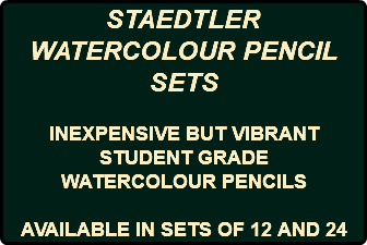 STAEDTLER WATERCOLOUR PENCIL SETS INEXPENSIVE BUT VIBRANT STUDENT GRADE WATERCOLOUR PENCILS AVAILABLE IN SETS OF 12 AND 24
