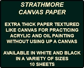 STRATHMORE CANVAS PAPER EXTRA THICK PAPER TEXTURED LIKE CANVAS FOR PRACTICING ACRYLIC AND OIL PAINTING WITHOUT USING UP A CANVAS AVAILABLE IN WHITE AND BLACK IN A VARIETY OF SIZES 10 SHEETS