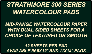 "STRATHMORE 300 SERIES WATERCOLOUR PADS MID-RANGE WATERCOLOUR PAPER WITH DUAL SIDED SHEETS FOR A CHOICE OF TEXTURED OR SMOOTH 12 SHEETS PER PAD AVAILABLE IN 9X12"" AND 11X14"" PADS"
