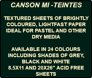 "CANSON MI -TEINTES TEXTURED SHEETS OF BRIGHTLY COLOURED, LIGHTFAST PAPER IDEAL FOR PASTEL AND OTHER DRY MEDIA AVAILABLE IN 24 COLOURS INCLUDING SHADES OF GREY, BLACK AND WHITE 8.5X11 AND 20X26"" ACID FREE SHEETS"