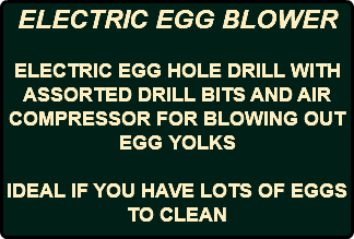 ELECTRIC EGG BLOWER ELECTRIC EGG HOLE DRILL WITH ASSORTED DRILL BITS AND AIR COMPRESSOR FOR BLOWING OUT EGG YOLKS IDEAL IF YOU HAVE LOTS OF EGGS TO CLEAN