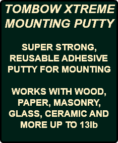 TOMBOW XTREME MOUNTING PUTTY SUPER STRONG, REUSABLE ADHESIVE PUTTY FOR MOUNTING WORKS WITH WOOD, PAPER, MASONRY, GLASS, CERAMIC AND MORE UP TO 13lb