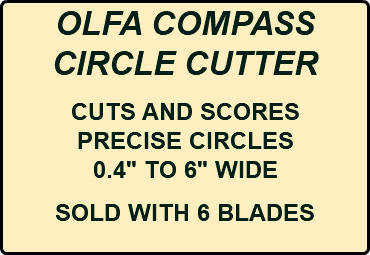"OLFA COMPASS CIRCLE CUTTER CUTS AND SCORES PRECISE CIRCLES 0.4"" TO 6"" WIDE SOLD WITH 6 BLADES"