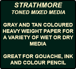 STRATHMORE TONED MIXED MEDIA GRAY AND TAN COLOURED HEAVY WEIGHT PAPER FOR A VARIETY OF WET OR DRY MEDIA GREAT FOR GOUACHE, INK AND COLOUR PENCIL