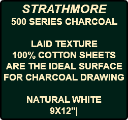 STRATHMORE 500 SERIES CHARCOAL LAID TEXTURE 100% COTTON SHEETS ARE THE IDEAL SURFACE FOR CHARCOAL DRAWING NATURAL WHITE 9X12"